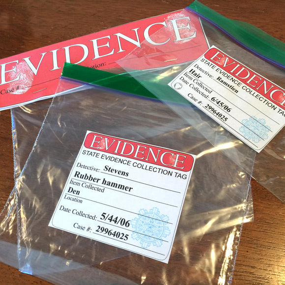 Evidence labels set, Crime themed party labels and evidence cards for zip lock bags, Home printable digital download PDF