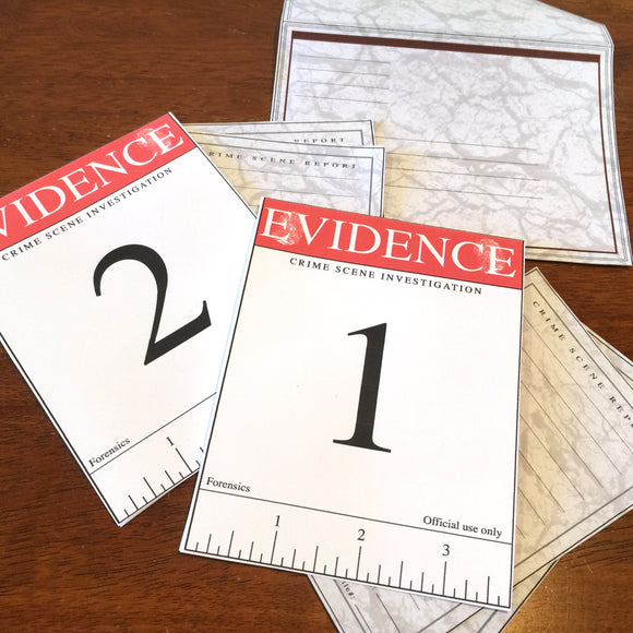 Crime scene, Evidence markers style greeting cards, editable, home printable pdf, digital download