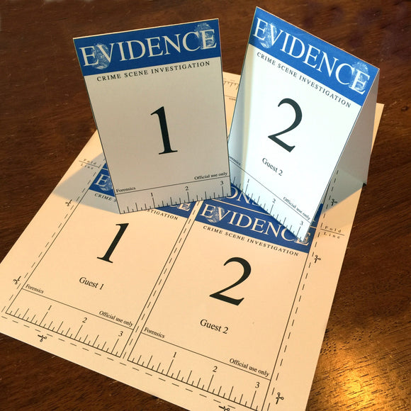 Blue Crime scene evidence markers cards, editable  PDF digital download, home printable