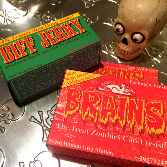 Brains and Biff Jerky! Brand, Zombie Treats, 2 pack, DIY prop, goodie box, fun party favor, digital download, home printable, Walking dead