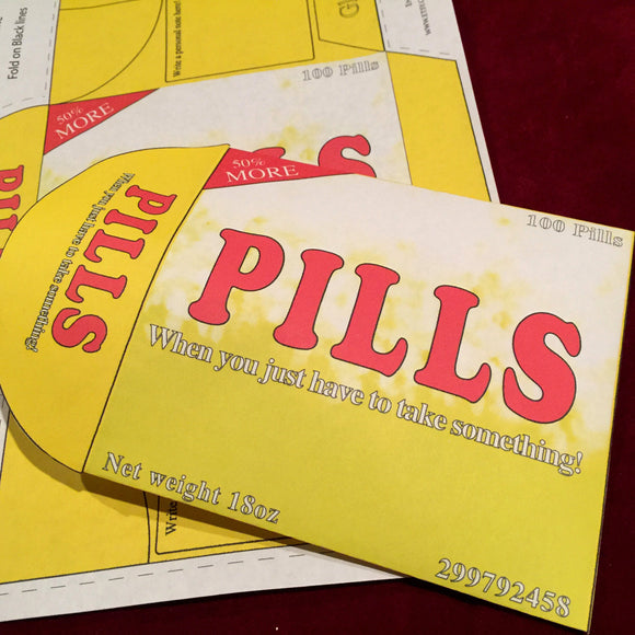 Pills brand, fake medication, diy envelope, home printable, editable PDF, digital download