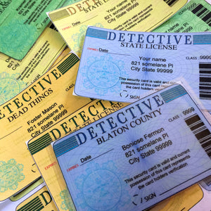 8, Detective ID style, prop cards editable, home printable, download  party labels, murder mystery, police crime scene, investigations