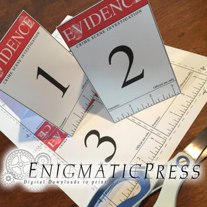 Red crime scene Evidence markers cards, editable PDF digital download, home printable