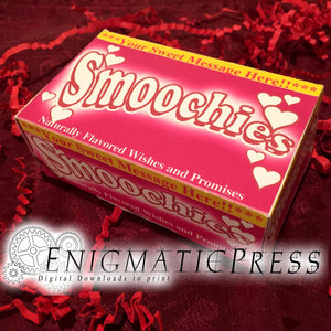 Smoochies DIY Valentines day gift box, PDF digital download, home printable