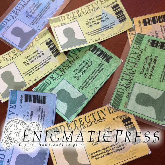 8, Detective ID style, prop cards with photo area editable badges, home printable, download party labels, murder mystery, police crime scene