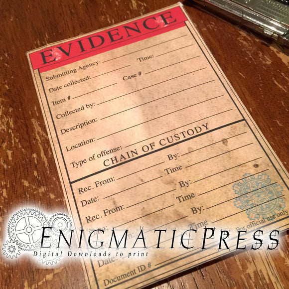 Half Size, Aged Chain of Evidence Envelope, easy DIY home printable, editable PDF digital download
