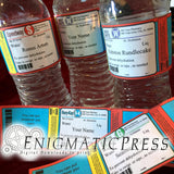 Prescription style water bottle labels, 5 editable wraps, Home printable, digital download PDF file