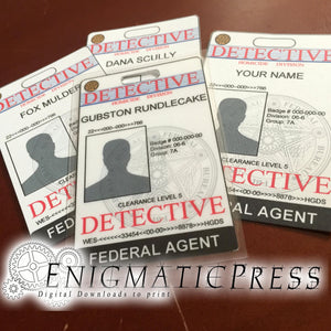 9 Detective style IDs with picture area, easy editable Ids, badges, home printable, download party labels, murder mystery cards, police