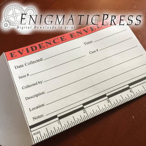 Evidence envelope with inch scale, home printable, editable PDF digital download