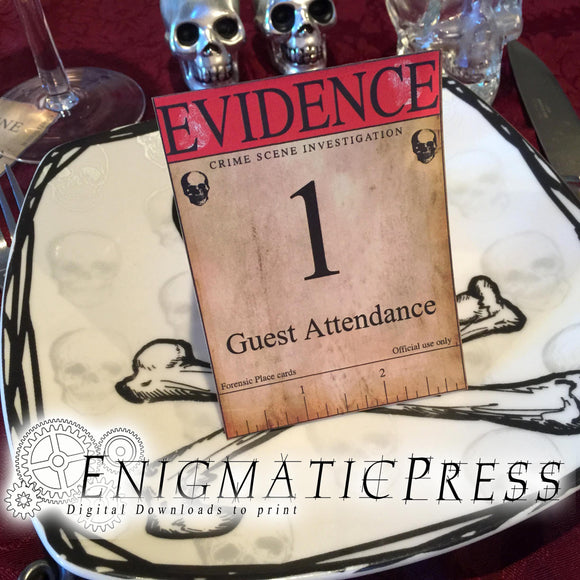 Aged Crime scene, place cards, editable evidence, marker set, investigation, detective theme, party decoration, pdf prop, digital download