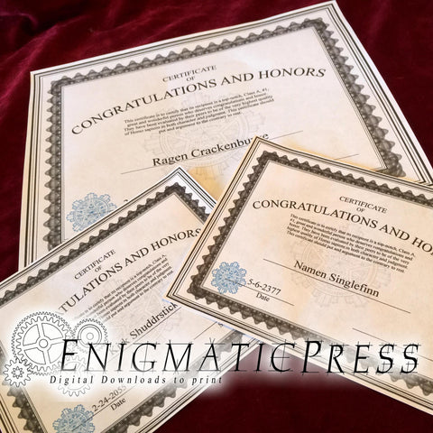 Congratulations and Honors award style certificate, 2 pg editable PDF, Home printable, digital download