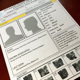 Suspect Id template, Fully editable Adobe Illustrator file, prop police paperwork, home printable AI, law enforcement, crime investigation
