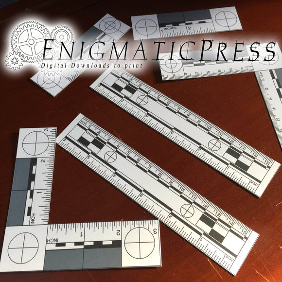 6 Photomacroscales, Metric and Inches rulers, photo scales Crime Scene photo props, Digital Download, home printable black and white