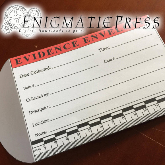 Evidence envelope with Metric scale, home printable, editable PDF digital download
