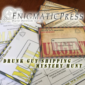 Drunk Guy Shipping Mystery hunt, All in one DIY set home printable treasure hunt, instant pdf digital download Gift set!