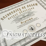 Witchcraft, Warlocks, and Wizards, Diploma from the University of  Salem, editable certificate, Home printable, digital download, prop