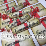 12 Diploma style Smarties labels, Red Ribbon, Congratulations and Editable candy wrappers, DIY, home printable PDF, digital download