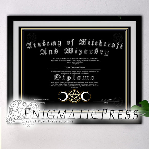Academy of Witchcraft, and Wizardry, Diploma style certificate with editable text, Home printable, pdf digital download, decor