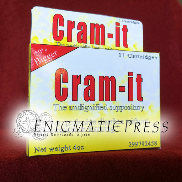 Cram it!, Fake drug medication, funny gift box, easy diy, party prop favor, digital download, home printable