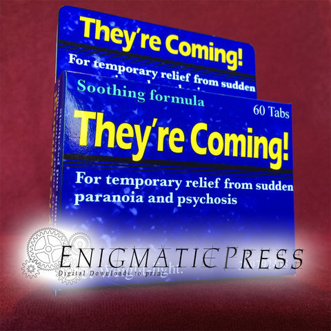 They're Coming! Fake Medication, Fun gag prop, drug box, pharmacy medicine, party favor, digital download, home printable,