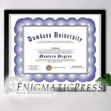 Honorary Dumbass Degree, graduate style diploma, with editable text, Home printable, digital download pdf,