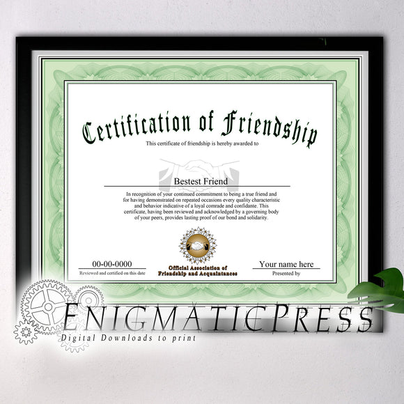 Certificate of Friendship award style gift, with editable text, Home printable, digital download pdf,