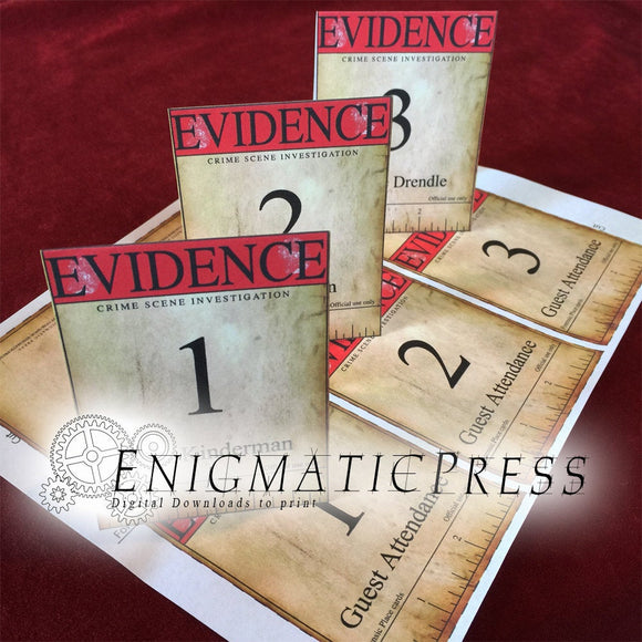 3 pgs ofset of Crime scene Evidence labels, tags and place markers, true crime party decor instant digital download