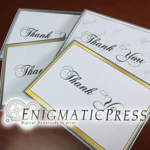"4 Simple ""Thank You"" appreciation cards set, gold, bronze, grey, and style PDF with editable envelope digital download, home printable"