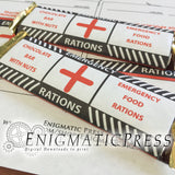 Emergency food ration style chocolate bar labels, fit 1.45 and 1.55 oz Hershey's and Nestle's bars, PDF digital download