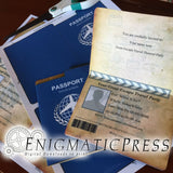 Passport style, invitation card set, with stationary and envelope, editable text PDF File digital downloads Print at home