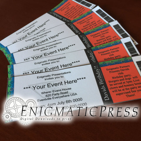 5 editable event, concert style Invitation tickets, Fun unique party favor, home printable DIY Digital download