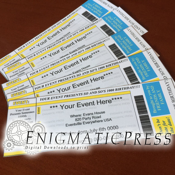 5 editable event, concert style Invitation tickets, home printable DIY Digital download, yellow