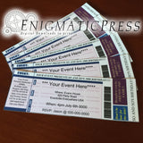5 editable event, concert style Invitation tickets, Fun unique party favor, home printable DIY Digital download, blue
