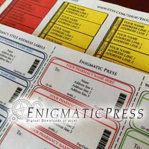 Prescription, pharmacy style, address with, warning return labels, easy DIY editable PDF, instant digital, download, print at home!