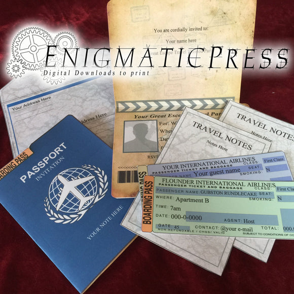 Passport style, invitation card set, with boarding pass, travel notes and envelope, editable text PDF Diy digital downloads
