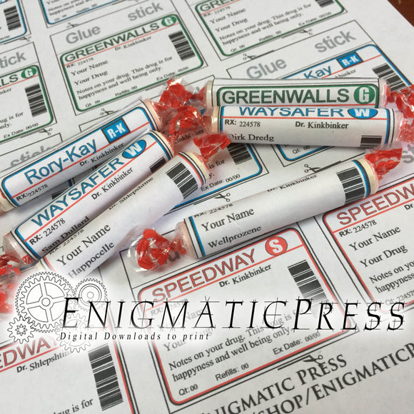 Prescription style Smarties labels, editable candy wrappers, easy DIY, home printable PDF, digital download party favor