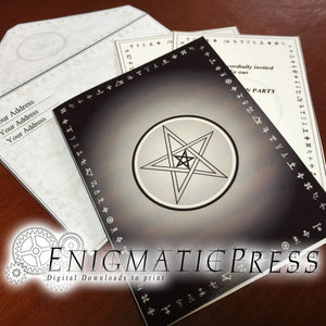 Pentagram cryptic writings Halloween invitation, greeting card set, editable PDFs digital download, home printable