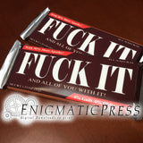 Fuck It! chocolate bar wrappers, fits 1.55 and 1.45 oz size Hershey's and Nestle's bars, PDF digital download home printable