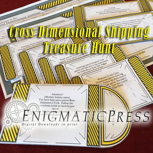 Cross Dimensional Shipping Mystery Treasure hunt, All in one DIY kit, home printable , instant pdf digital download Gift set!
