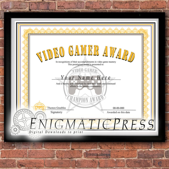 Video Gamer awards style certificate, editable PDF, Home printable, digital download