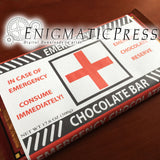 Large Emergency chocolate! labels, fit 17.6 Trader Joe's bars, editable PDF digital download