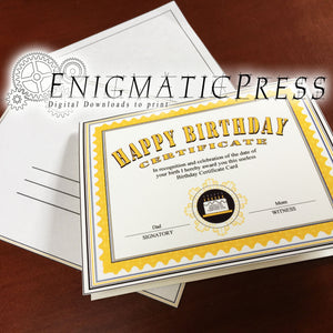 Certificate style Birthday Card, with matching envelope, editable PDF, home printable, digital download