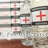 5 Emergency Rations style water bottle labels, wraps Home printable, digital download