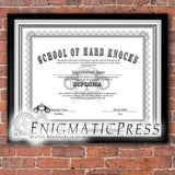 2 School of Hard Knocks Diploma style certificates, with editable text, Home printable, digital download