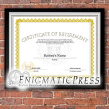 Certificate of Retirement graduate style certificate, with editable text, Home printable, digital download pdf,