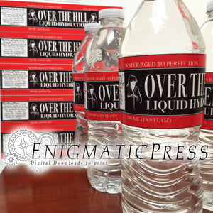 5 Over The Hill style water bottle labels, wraps Home printable, digital download