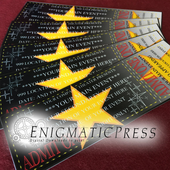 Editable Hollywood movie style event tickets, party invitation, digital download