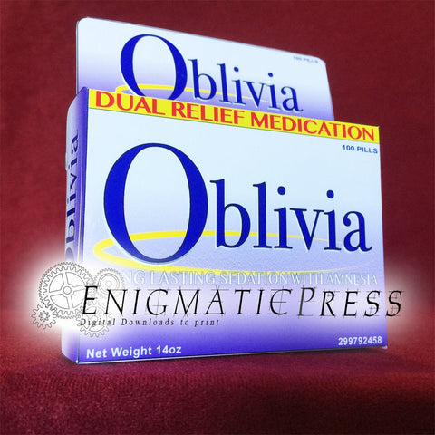 Oblivia! Fake brand box medication, funny DIY gift box, party favor, digital download, home printable