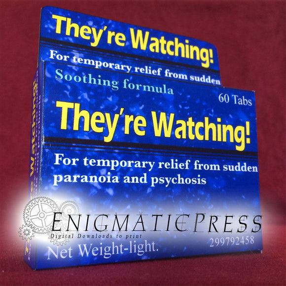 They're Watching! Fake brand Medication, joke gift box, digital download, home printable, PDF files