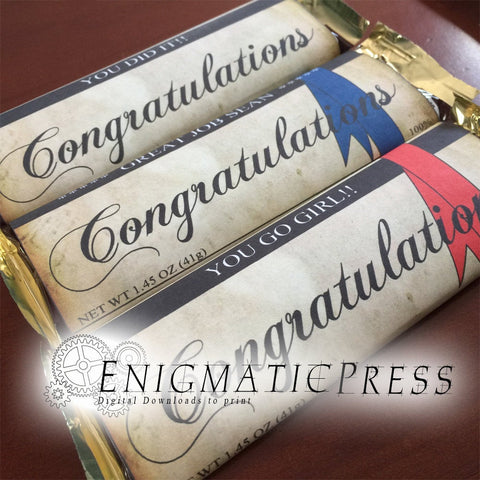 3 Congratulations style chocolate bar labels,  blue red plain ribbon, fit 1.45oz size Hershey's with nuts, editable PDF 3pg digital download